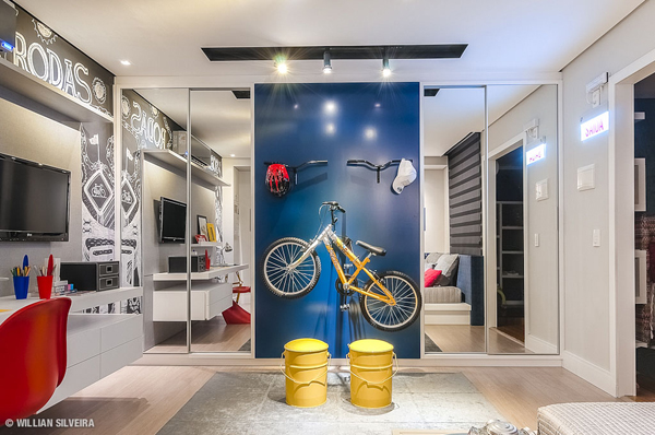 Creative Boys Bedroom With Bicycle Themes House Design