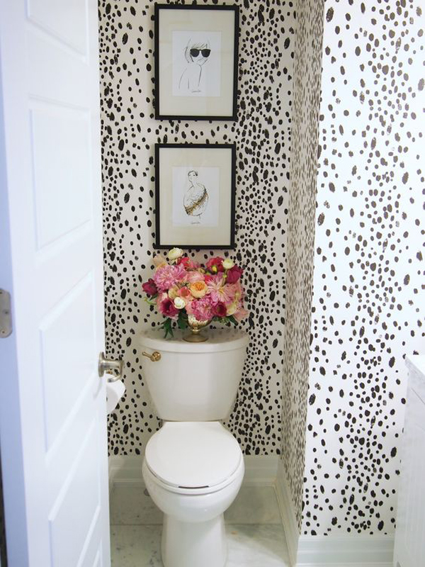 10 spotted dalmatian dot prints for your interior house for Bathroom wallpaper designs