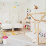 Fresh And Fun Girl's Room With Double Beds