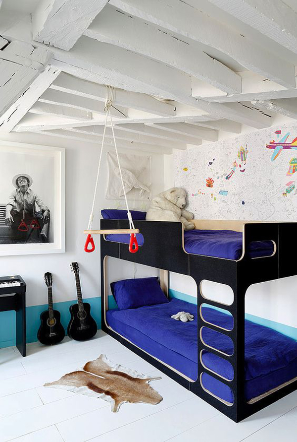 teenage boys bedroom with blue color