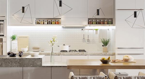 Nordic apartments with dramatic portrait of john lennon for Scandinavian kitchen backsplash