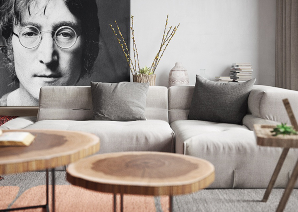 Nordic Apartments With Dramatic Portrait Of John Lennon