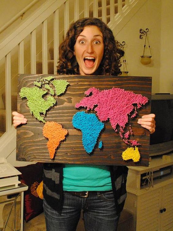 diy-string-art-world-maps | House Design And Decor
