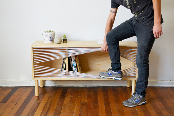 Wooden Sideboard With Boxing Ring Inspired
