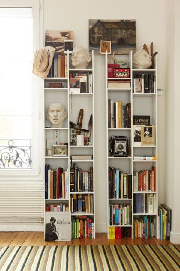 college bedrooms with bookcase storage