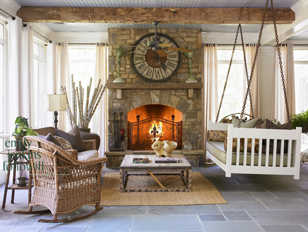 Cozy Sunroom With Fireplaces