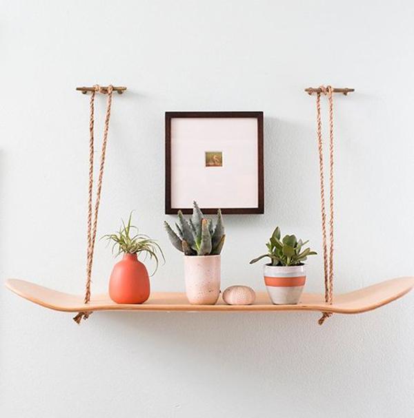 hanging skateboard planter shelf. Black Bedroom Furniture Sets. Home Design Ideas