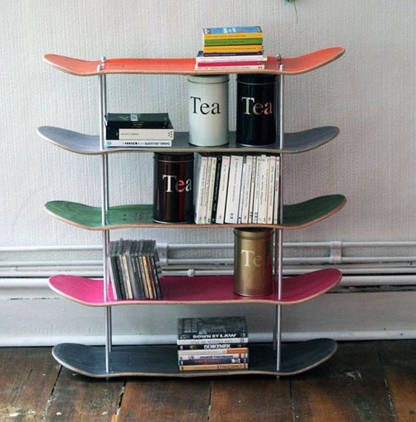 cool skateboard wall shelves ideas | 20 Cool And Fresh Skateboard Recycled Ideas | House Design ...