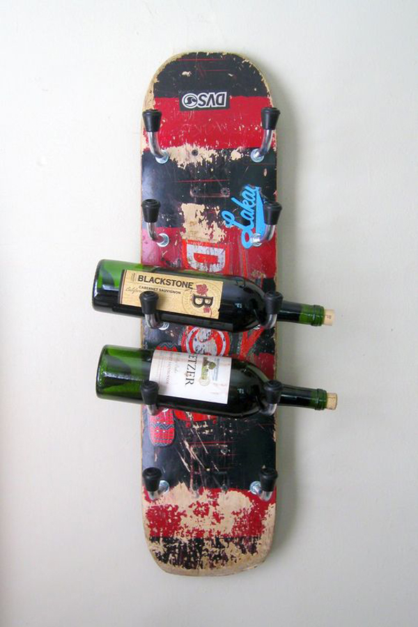 skateboard wine rack ideas