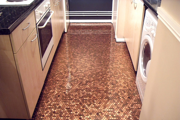 Creative And Patient DIY Penny Floor Projects