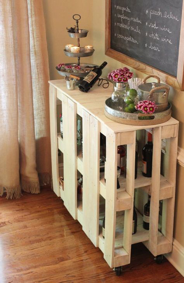 Creative Wooden Pallet For Wine Bar And Racks House