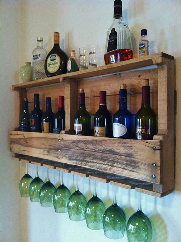 Wall Decoration Racks : Creative wooden pallet for wine bar and racks house