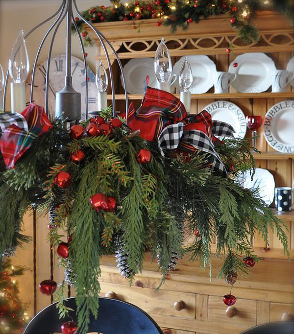 A Canadian Home Styled For Christmas With Natural Elements: 20 DIY Christmas Chandelier With Natural Ideas