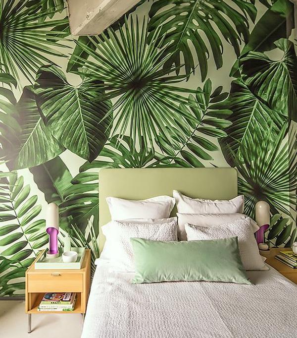Tropical Leaf Bedroom Wallpaper
