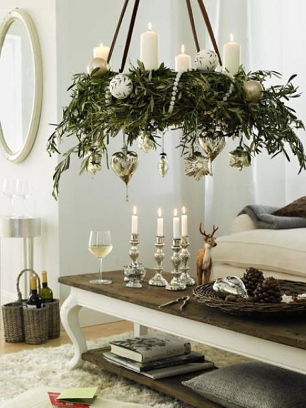 20 diy christmas chandelier with natural ideas house for Christmas chandelier decorations ideas
