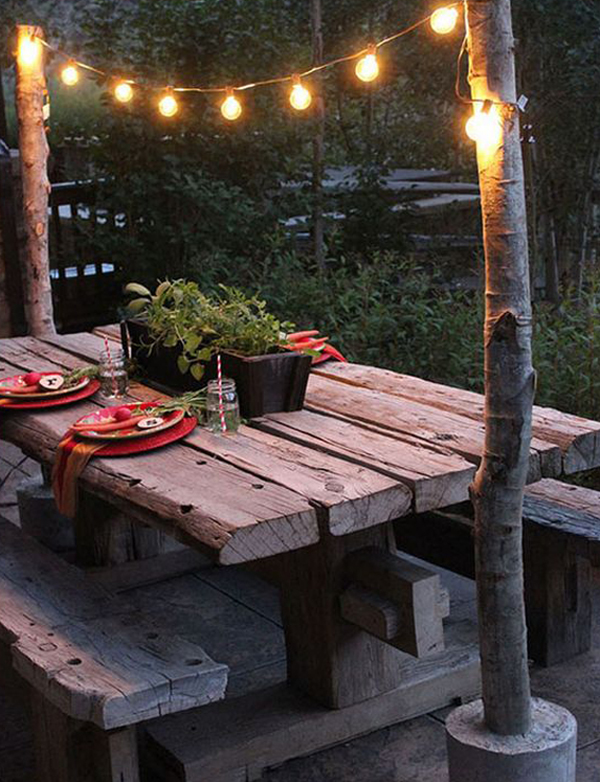 shabby chic garden lighting with outdoor dining room