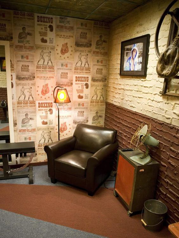 Vintage sport decorations for man cave house design