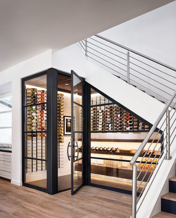 luxury under stairs wine cellar storage