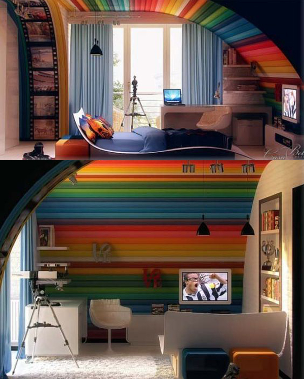 Images Of Bedroom Colour Schemes Easy Diy Bedroom Wall Decor Student Bedroom Interior Design Nautical Bedroom Decor Kids: 20 Cheerful Rainbow Colors For Your Home Decor