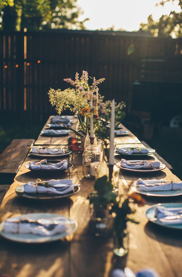 20 rustic table setting ideas to summer celebrate house for Party table setting