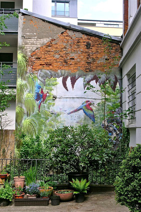 Urban Small Jungle Garden With Wall Painting