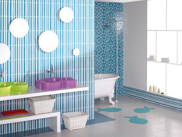 Cool Blue Kids Bathroom Design