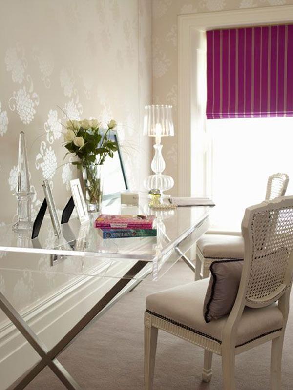 Classy Office Wall Decor : Feminine glass desks for modern workspaces house