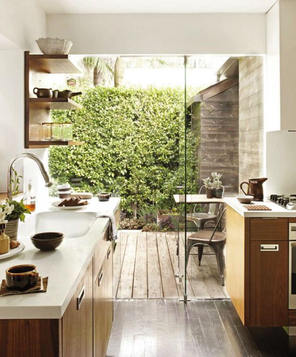 Wall Decor Greenery : Indoor outdoor kitchen with greenery wall