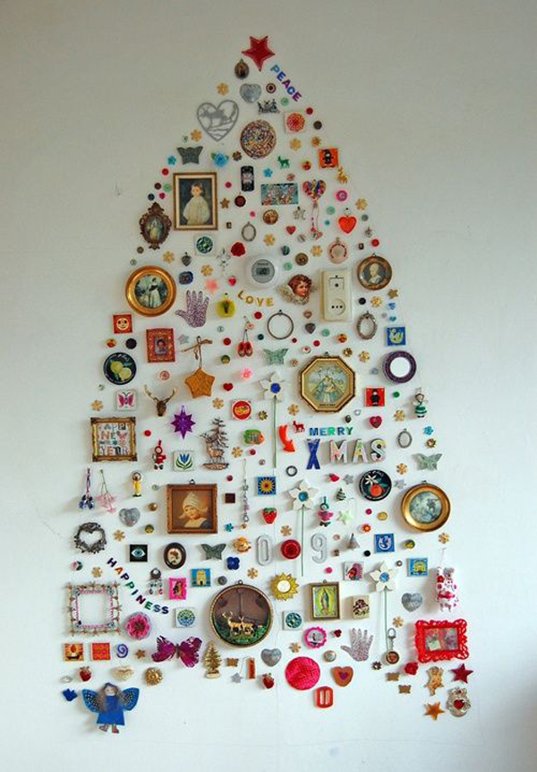 25 simple and creative christmas trees in the wall house for Diy tree wall art