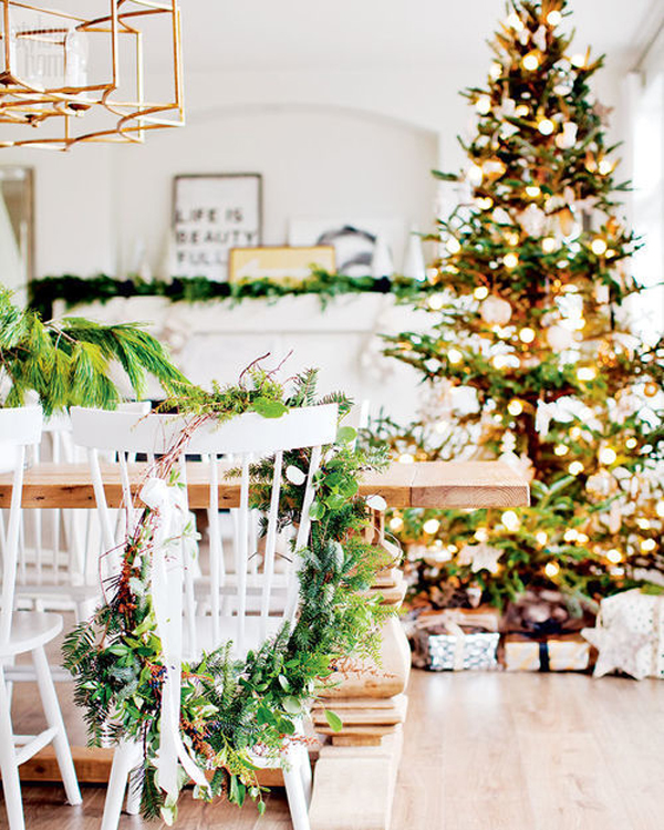 Pretty Christmas Trees: Pretty-christmas-tree-light-with-farmhouse-style