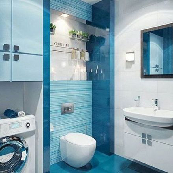Awesome Blue Themed Bathroom With