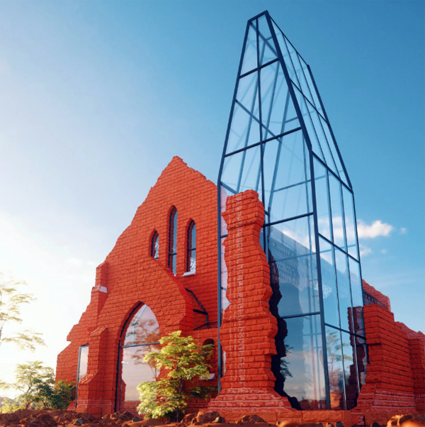 The Old Palapye Museum With Red Brick And Glass Exposed