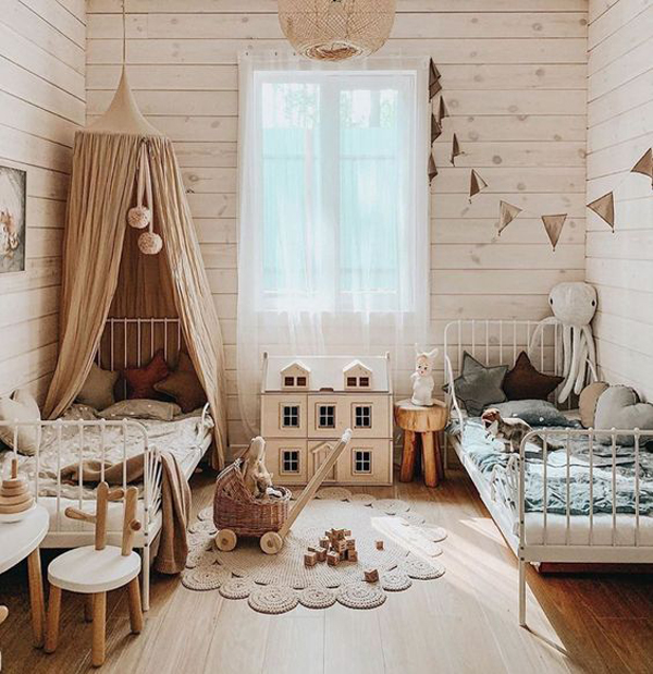boho-shared-kids-room-design