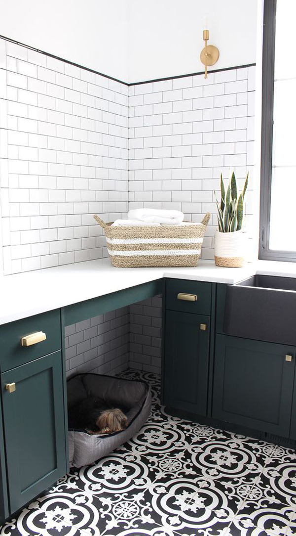 modern-classic-black-and-white-laundry-room-with-dog-bed