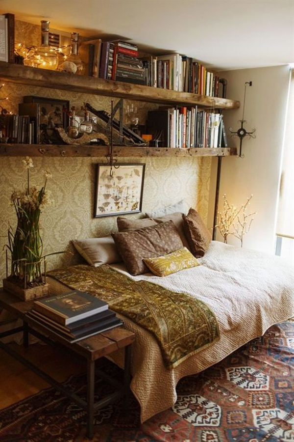 vintage-bedroom-ideas-with-home-library