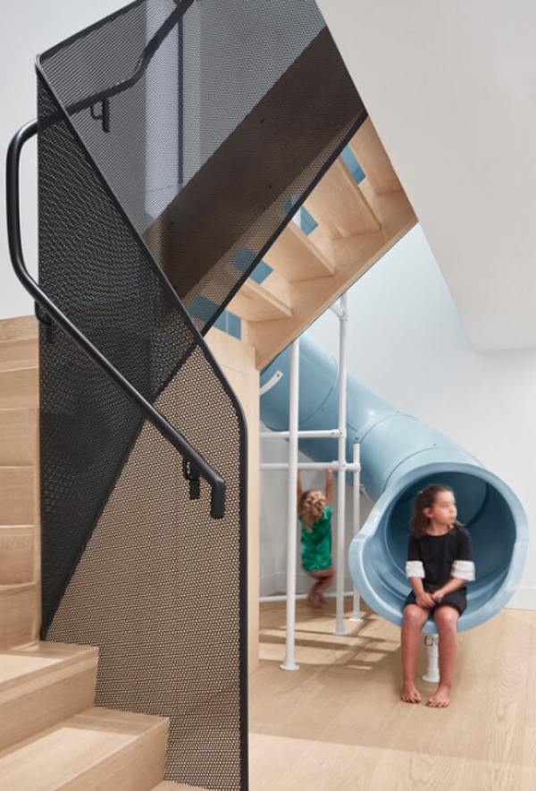 cool-staircase-with-giant-blue-slide