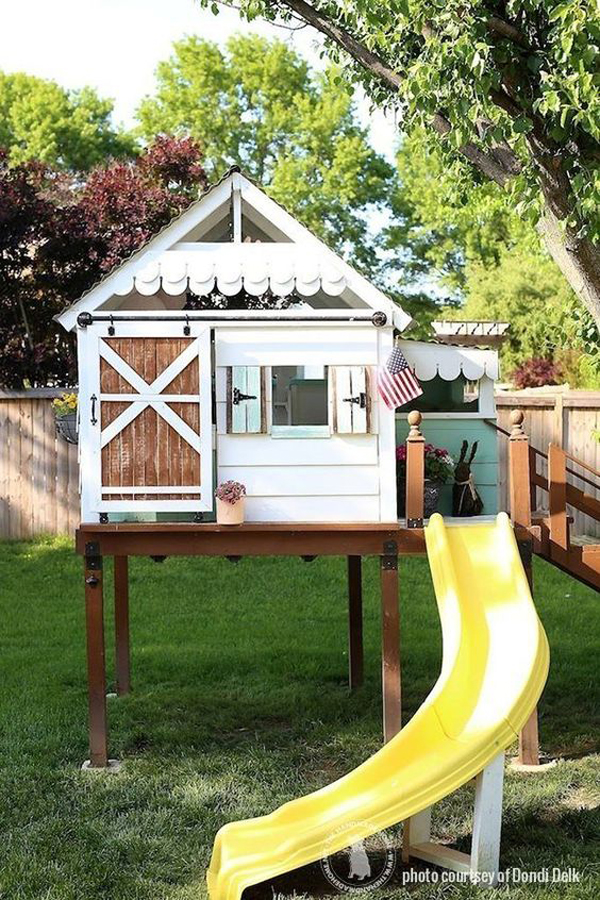 cottage-treehouse-ideas-with-slide-play