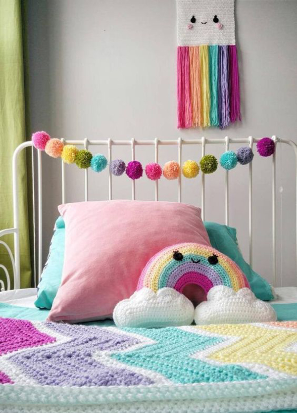 cute-pastel-rainbow-bedroom-with-pom-pom