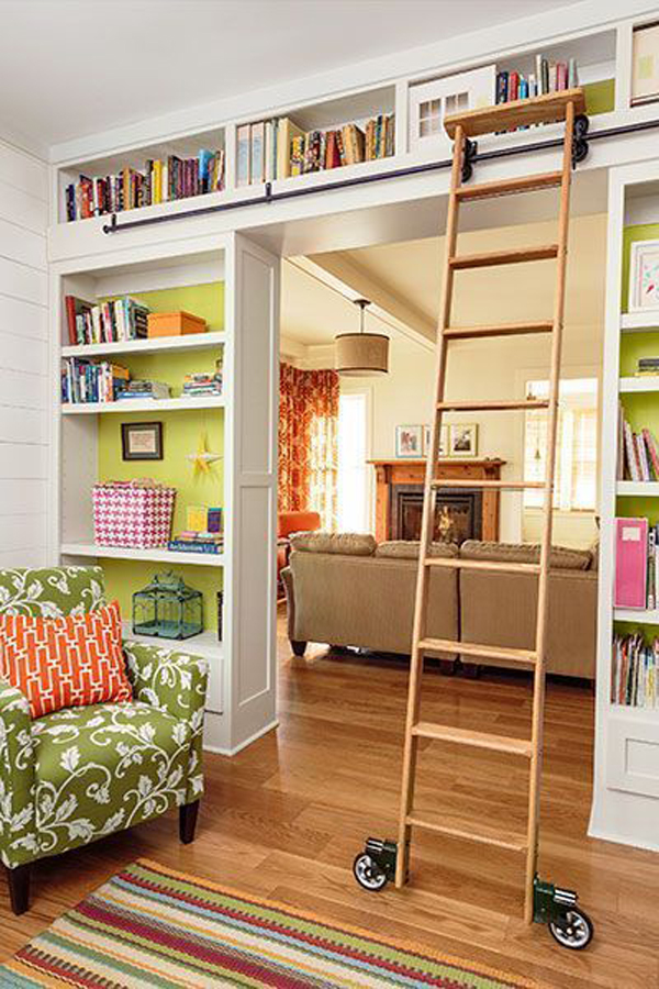 home-library-ideas-with-rolling-ladder