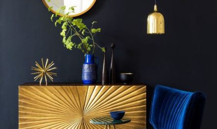 black-interior-design-with-gold-display-cabinet