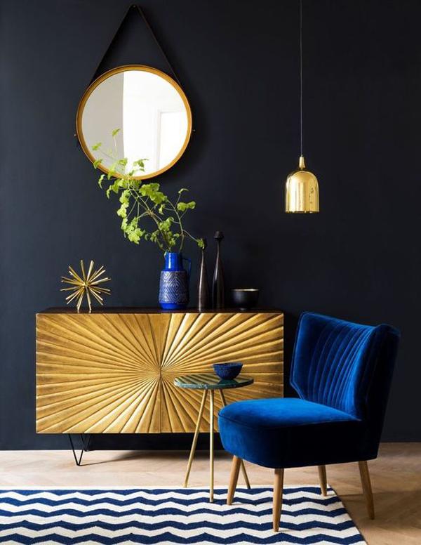 black-interior-design-with-gold-display-cabinet