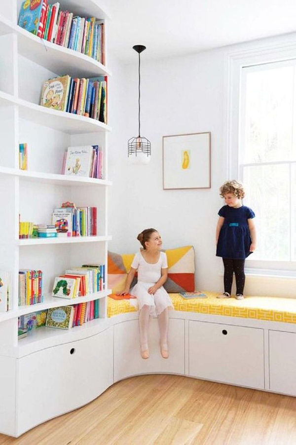 bright-kid-home-library-ideas-with-corner-seats