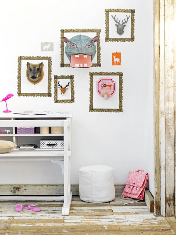 cool-diy-gallery-walls-with-animal-theme