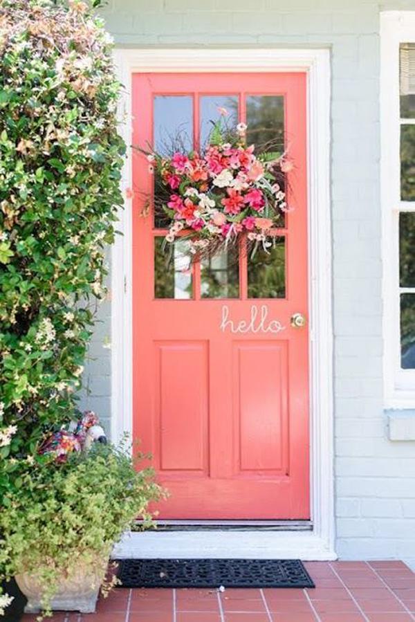 coral-painted-welcoming-front-door