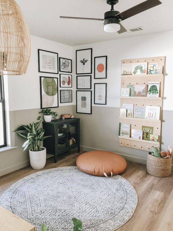 corner-gallery-wall-for-kids-reading-nook