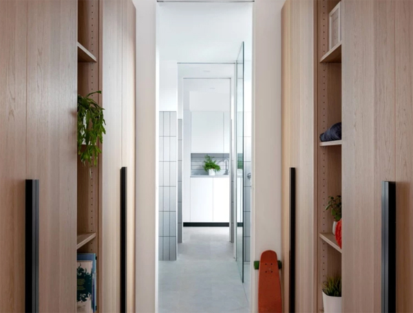 hallway-with-wooden-cabinet-shelves