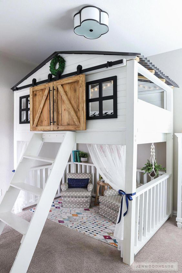 indoor-kid-playhouses-with-loft-bed