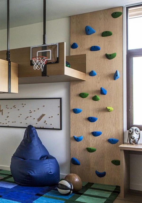 kids-bedroom-with-loft-bed-and-rock-climbing-wall