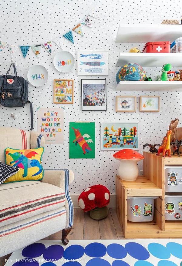 kids-gallery-walls-with-polkadot-wallpaper