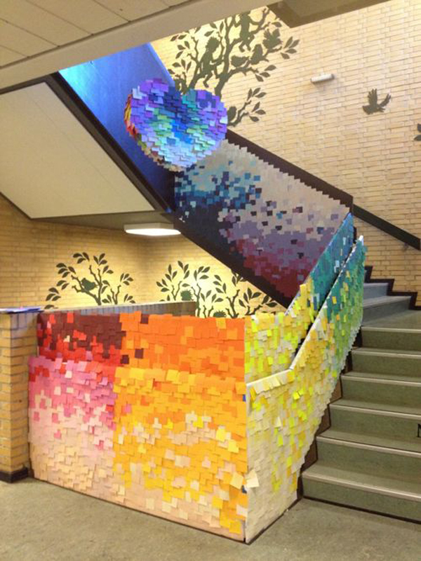 pixelated-diy-sticky-notes-staircase-design